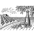 Olive harvest landscape black and white vector image