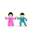 asian man and woman wearing traditional clothes vector image