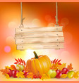 autumn background with leaves and wooden sign vector image