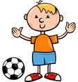 boy with ball cartoon vector image