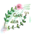 Carpe diem motovation floral prin vector image