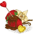 Chocolate Covered Strawberries and Vanilla vector image
