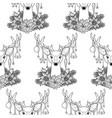 christmas deer outline seamless pattern vector image
