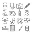 set of medical line icon vector image