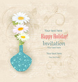 Vintage invitation card with a vase of daisies on vector image