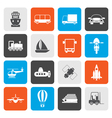 Flat Transportation travel and shipment icons vector image vector image