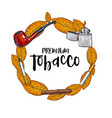 round frame of smoking pipe lighter cigar vector image