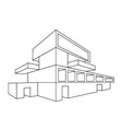 2D perspective drawing of a house vector image