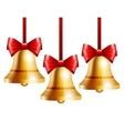 golden bells with a red bow vector image vector image