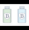 bitcoin wallet usb flash drive cartoon style vector image