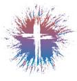 Grunge style cross on colorful splash vector image