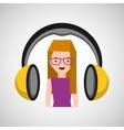 headphones music character girl glasses vector image