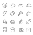 Lines icon set - bread and bakery vector image