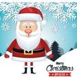 santa claus card merry christmas snowfall tree vector image