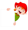 Christmas Elf Holds Sign vector image