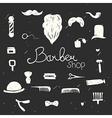 Set of vintage barber shop design elements black vector image