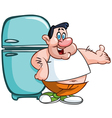 fat man and fridge vector image vector image