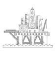Sea platform drilling offshore oil vector image