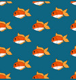 cute goldfish on indigo blue background vector image