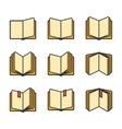 Open books icons set isolated over white vector image vector image