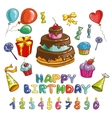 Happy birthday symbols Candles and cakes set of vector image