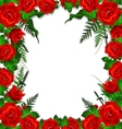 red roses with leaves background vector image vector image