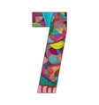 Number 7 with hand drawn abstract doodle pattern vector image