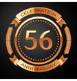 Fifty six years anniversary celebration with vector image