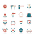 Road and Traffic Icons vector image vector image