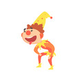 funny laughing jester colorful cartoon character vector image