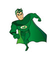 a cartoon superhero character with a green cape vector image