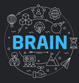black line flat circle brain vector image