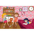 Girl fighting over a toy vector image vector image