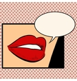 Beautiful red lips girl vector image