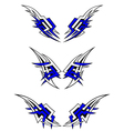 Set of wings tattoos in celtic style vector image