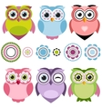 Cute cartoon owls set vector image