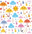 cute umbrellas raindrops flowers clouds sky vector image