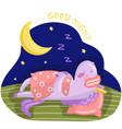 funny cartoon unicorn character sleeping on the vector image