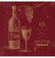 Hand drawn grunge wine background vector image