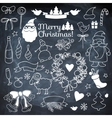 Set of Christmass elements on blackboard with vector image