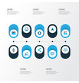 social colorful icons set collection of cogwheel vector image