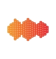 Sound waves icon Orange applique isolated vector image