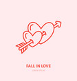 two hearts pierced by fall in love vector image