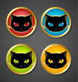 Black cat head icons vector image