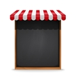 Black chalkboard frame with red awning vector image