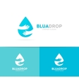 drop and hands logo combination Aqua and vector image