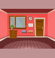 cartoon flat interior office room in red blossom vector image