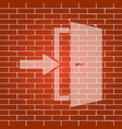 door exit sign  whitish icon on brick wall vector image