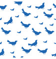 blue bird silhouettes seamless pattern vector image