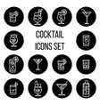 cocktail thin line icons set in black and vector image